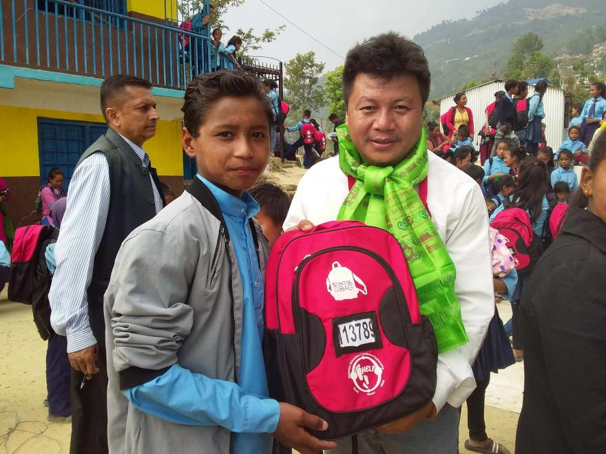 Delivering SchoolBags in Nepal