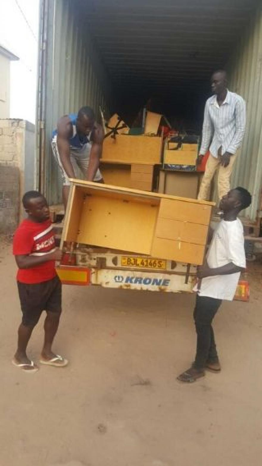 BLAKE'S CONTAINER OF SCHOOLBAGS AND CLASSROOM SUPPLIES REACHES THE GAMBIA!