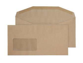 Mailer Gummed Window Manilla DL+ 121x235 80gsm Envelopes
