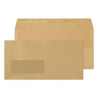 Wallet Self Seal Window Manilla DL 110x220 80gsm Envelopes
