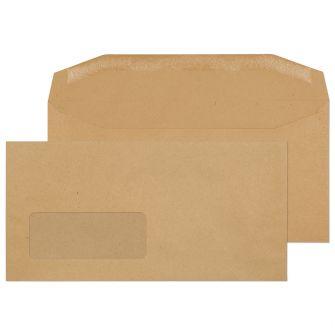 Mailer Gummed Window Manilla DL 110x220 80gsm Envelopes