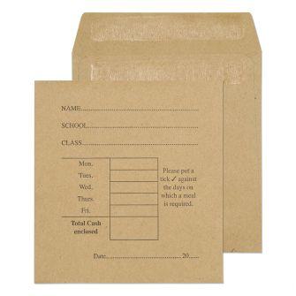 School Dinner Money Pocket Self Seal Manilla 108x102 80gsm Envelopes