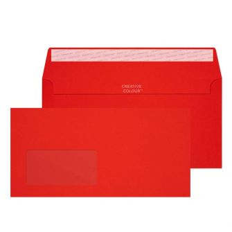 Wallet Peel and Seal Window Pillar Box Red DL+ 114x229 120gsm Envelopes