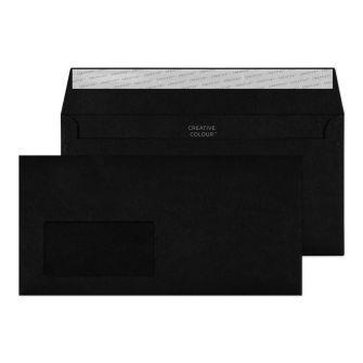 Wallet Peel and Seal Jet Black window 120GM BX500 114x229 Envelopes