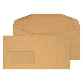 Mailer Gummed Window Manilla DL+ 114x235 80gsm Envelopes