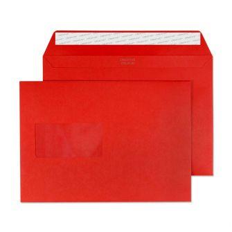 Wallet Peel and Seal Window Pillar Box Red C5 162x229 120gsm Envelopes