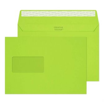 Wallet Peel and Seal Window Lime Green C5 162x229 120gsm Envelopes