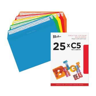 Wallet Peel and Seal Assorted Colours C5 162x229 120gsm Envelopes