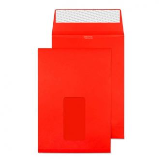 Gusset Pocket Peel and Seal Window Pillar Box Red C5 229x162x25 140gsm Envelopes