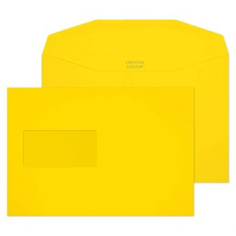 Mailer Gummed Window Banana Yellow C5+ 162x235 120gsm Envelopes