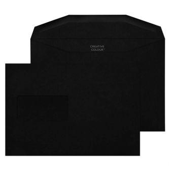 Wallet Gummed Jet Black Window 120GM BX500 C5+ 162x235 Envelopes