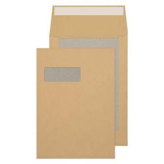 Board Back Gusset Pocket Peel and Seal Window Manilla C4 324x229x25 120gsm