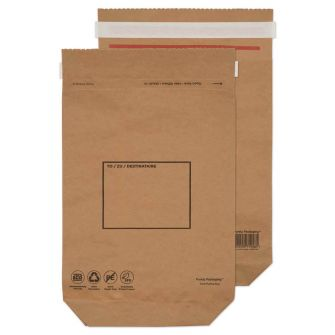 Kraft Mailing Bag Peel and Seal Natural Brown 370x300x80 110gsm