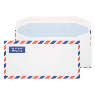Airmail Wallet Gummed White DL 110x220 80gsm Envelopes