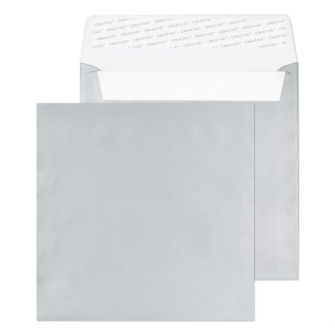 Square Wallet Peel and Seal Metallic Silver 160x160 130gsm Envelopes