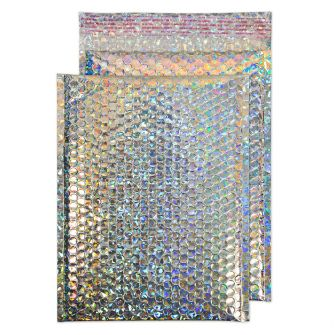 Metallic Bubble Padded Pocket Peel and Seal Holographic BX100 324x230