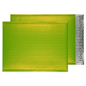 Metallic Bubble Padded Pkt P/S Matt Lime Green BX50 450x324