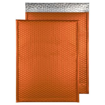Metallic Bubble Padded Pocket Peel and Seal Flame Orange BX50 450x324