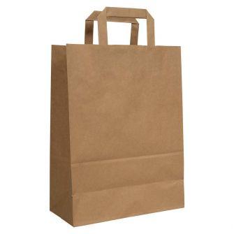 Flat Handled Brown Kraft Paper Carrier Bag 320x140x420mm 80gsm
