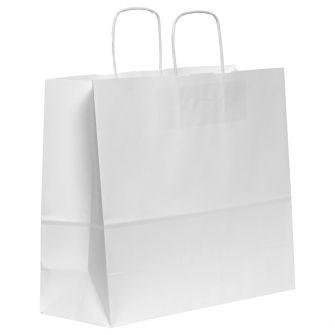 Twist Handled White Kraft Paper Carrier Bag 340x120x290mm 100gsm