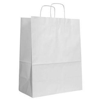Twist Handled White Kraft Paper Carrier Bag 350x180x440mm 100gsm