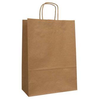 Twist Handled Brown Kraft Paper Carrier Bag 240x110x330mm 90gsm