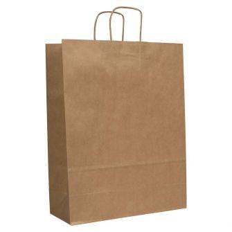 Twist Handled Brown Ribbed Kraft Paper Carrier Bag 320x120x410mm 90gsm
