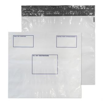 Polypost Polythene Wallet Peel and Seal White 430x460