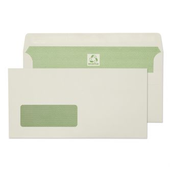 Wallet Self Seal Window Natural White DL 110x220 90gsm Envelopes