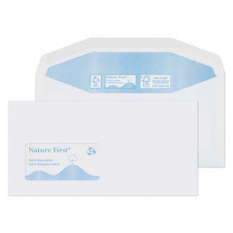 Nature First Mailer Gummed Window White DL+ 114x229 90gsm Envelopes