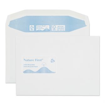 Nature First Mailer Gummed Window White C5 162x229 90gsm Envelopes