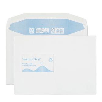 Nature First Mailer Gummed CBC Window White C5 162x229 90gsm Envelopes