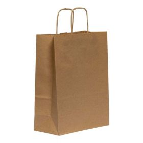 Twist Handled Brown Kraft Paper Carrier Bag 220x100x280mm 90gsm