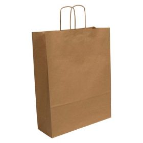 Twist Handled Brown Kraft Paper Carrier Bag 320x120x410mm 100gsm