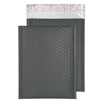 Metallic Bubble Padded Pocket Peel and Seal Graphite Grey BX100 250x180