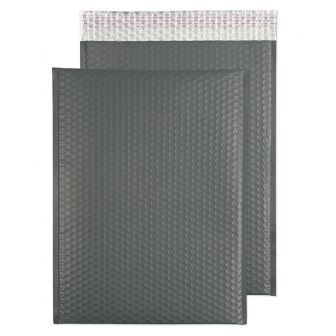 Metallic Bubble Padded Pocket Peel and Seal Graphite Grey BX50 450x324