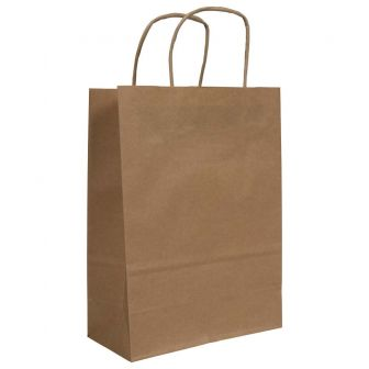 Twist Handled Brown Ribbed Kraft Paper Carrier Bag 180x80x240mm 90gsm