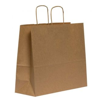 Twist Handled Brown Ribbed Kraft Paper Carrier Bag 310X170X340mm 90gsm