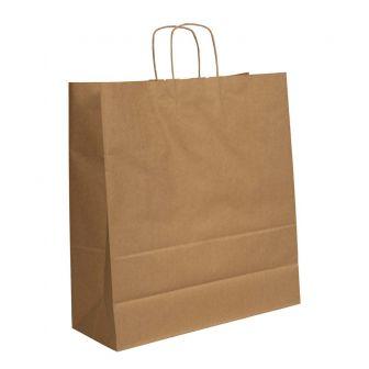 Twist Handled Brown Ribbed Kraft Paper Carrier Bag 350X180X440mm 90gsm