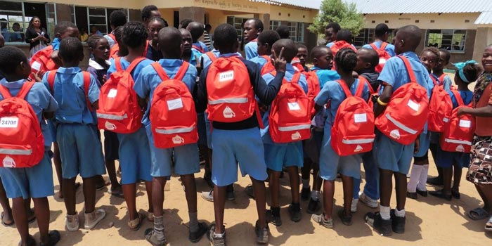 children with school bags