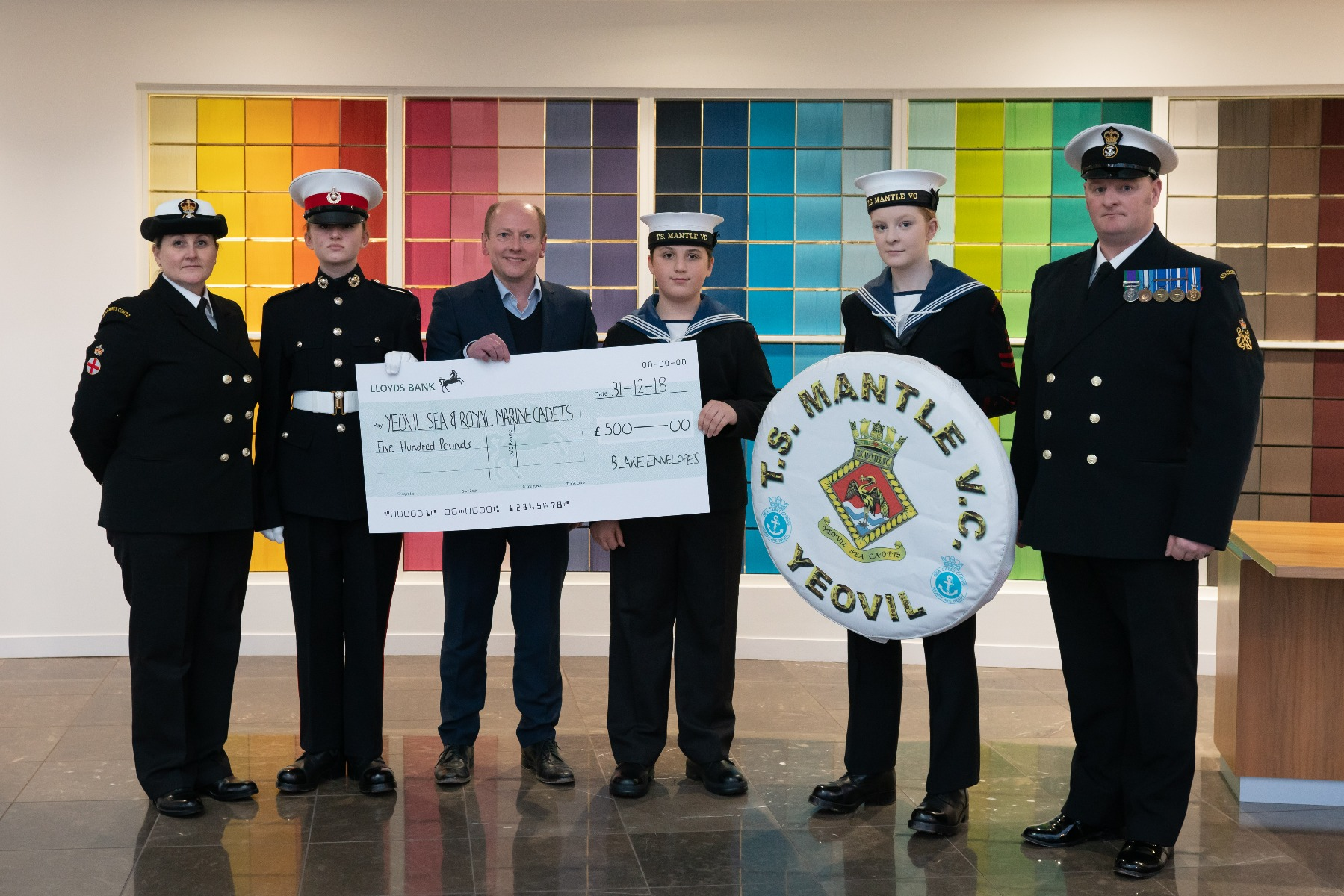 T S Mantle Cadets with cheque