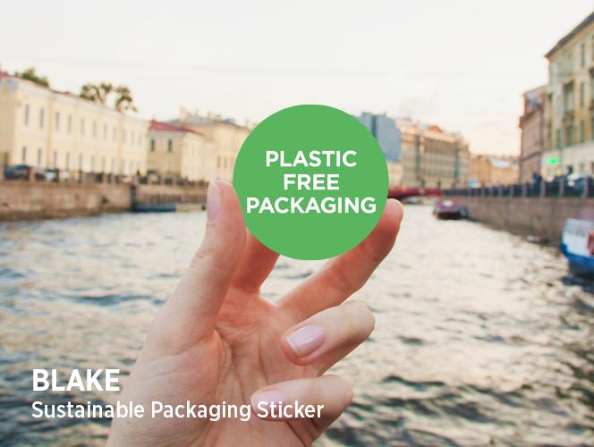 Blake sustainable packaging sticker